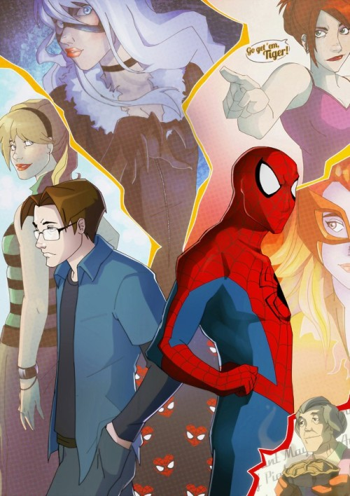 "fuckyeahspiderwife:  [Peter and Spidey against a montage of Gwen, Felicia, MJ, Firestar and Aunt May. MJ's pointing and saying, ""Go get 'em, Tiger!""] ladiesmakingcomics:  ComicsAlliance has an amazing gallery of work by Brazilian artist Priscilla Tramontano.  Click on over for great genderswapped Galactus and Thanos, as breathtaking Master Chief and Boba Fett pictures."
