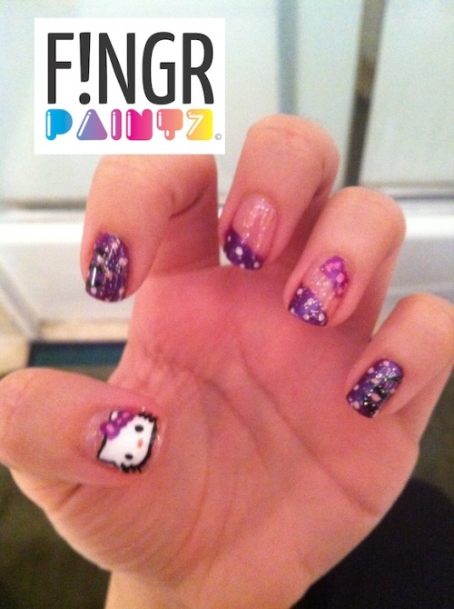 HELLO KITTY NAILS!!!!! :D These are a little old, from like last year.  I found them in my nail art archive hahah…figured they're too awesome to not show you guys!  Just so I don't get any hate, THEY ARE INSPIRED BY A DESIGN I SAW ON YOUTUBE.  This was back when I first started nail art so I was more focused on practicing technique before coming up with original designs.  Oh and the Hello Kitty face was done with that sticker technique Julia made a video for!! <3 Laur