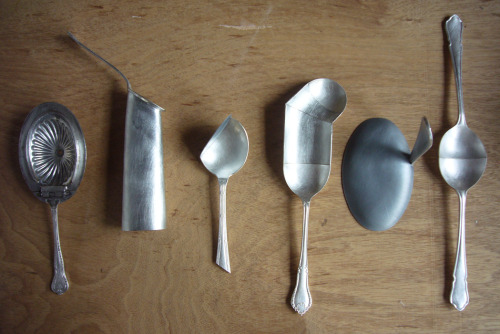 Feed Me Spoons by David Clarke David Clarke takes zinc, pewter and lead to old Sheffield plate spoons, creating unusual modern hybrid cutlery and artistic utensils.