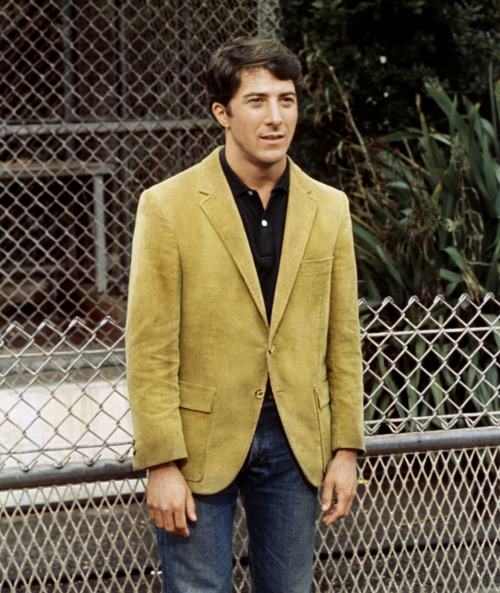 toninetica:  Dustin Hoffman wears a classic corduroy Ivy jacket with a dark polo shirt and jeans. From The Graduate (1967)