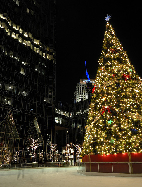 ilove-december:  The Christmas Tree and Ice Skating Rink at PPG Place in Pittsburgh by marantzer on Flickr.  Missing Pittsburgh right now…