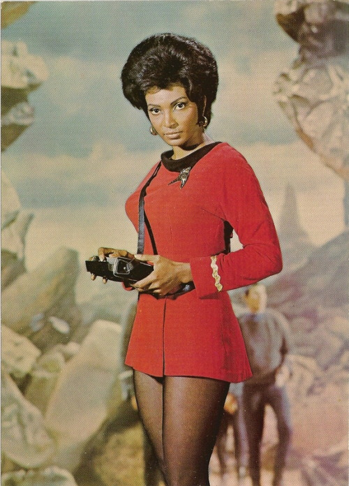 "nefariousnewt:  deejaybird:  ""Uhura"" comes from the Swahili word UHURU meaning ""freedom"". Uhura was pretty much the first ever black main character on American television who was not a maid or a domestic servant in 1966. TV network NBC refused to let Nichelle Nichols be a regular, claiming Deep South affiliates would be angered, so Star Trek creator Gene Roddenberry hired her as a ""day worker,"" but still included her in almost every episode. She actually made more money than any of the other actors through this workaround, and it was kept secret from the other actors, but it was still a humiliating second-class status. The network people made life hard for Nichols, constantly trying to pare down her screen time, purposefully dropping racist comments in her presence and even withholding her fan mail from her.This deplorable state of affairs led Nichols to make the decision to quit after the 1st season, but then she happened to meet the Reverend Martin Luther King, Jr. who pleaded with her to stick with the show because as a Black woman she was portraying the first non-stereotypical role on television.   Always re-blog."