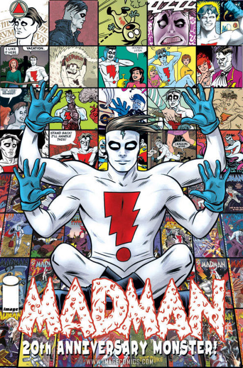 Market Monday Madman 20th Anniversary Monster HC, colored by Laura Allred, includes art by Maris Wicks  FRAZETTA! KIRBY! TOTH! MOEBIUS! KUBERT! MILLER! STEVENS! The BIG one! Literally: This gigantic 11 x 17 hardcover is the coffee table book of the Millennium! Nearly every great artist to ever work in comics is in this book which includes new stories from PETER BAGGE, KYLE BAKER, PHILIP BOND & PETER MILLIGAN, DARWYN COOKE, DAVE COOPER, DEAN HASPIEL, LOS BROS HERNANDEZ, ERIK LARSEN, DAVID MACK, PAT McKEOWN, BERNIE MIREAULT, MICHAEL AVON OEMING, PAUL POPE, ERIC POWELL, FRANK QUITELY, STEVEN T. SEAGLE & TEDDY KRISTIANSEN, JEFF SMITH, JAY STEPHENS, CRAIG THOMPSON, MATT WAGNER, JOE QUINONES & MARIS WICKS. Also MICHAEL ALLRED's latest - and most epic ever - MADMAN story! PLUS almost every Madman illustration collected over the past 20 years from all the greats. Surprises galore!  ~Preview~
