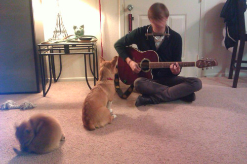 My husband plays for his toughest audience.