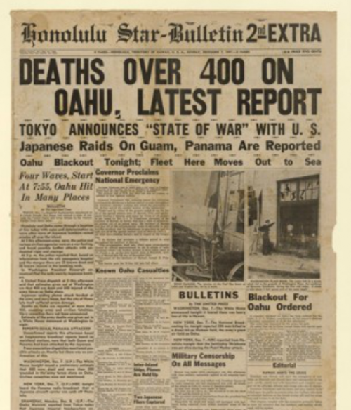 The front page of the Honolulu Star-Bulletin, 70 years ago today. More front pages from Pearl Harbor.