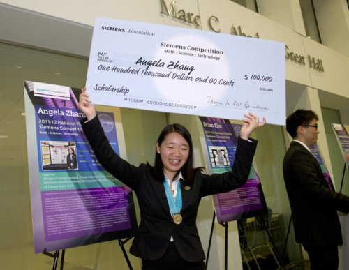 "neaato:  Zhang, the only female individual finalist, said her research was in part motivated by her family. Her great grandfather had liver cancer and her grandfather died of lung cancer when she was in seventh grade. ""I  asked, 'Why does this happen. Why does cancer cause death? What are we  doing to fix this and what can I do to help,'"" said the Monta Vista High  School senior. Zhang said the  particle she designed improves on current cancer treatments because it  delivers a drug directly to tumor cells and doesn't affect healthy cells  around it. The particle is also able to release a drug when activated  by a laser. The idea is still years away from being used in patients,  however. Zhang says it could take 25 years between clinical trials and  other steps before her research is helping patients."