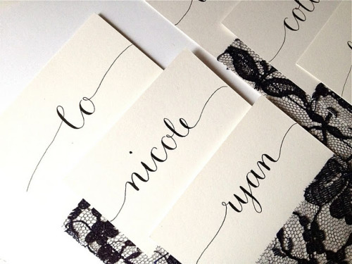Sample place card calligraphy for a local event planner's upcoming photo shoot! And yes, that is vintage lace sewn directly onto the cards. Awesomeness!  *For more info about my calligraphy services, visit my Letter Be shop on Etsy HERE!