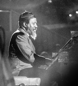 "Thelonious Monk (1917 - 1982) - Thelonious                          Monk was part of that small but select group of jazz musicians                          who were responsible for the birth of a new kind of jazz                          - bebop. In his teens he met Mary Lou Williams, a fine                          jazz pianist who became a lifelong friend and a major                          inspiration. By the early 1940's he was playing Harlem                          clubs like Minton's and Monroe's Uptown House with fellow                          innovators Kenny Clarke, Dizzy Gillespie and Charlie Parker.                          In the mid 40's he led groups under his own name, worked                          with Coleman Hawkins, and was with the Dizzy Gillespie                          Orchestra for a while; but he did not work regularly until                          the mid 50's when he finally became recognised for the                          contribution he had made to the new jazz and started recording                          some remarkable albums for Riverside. In 1962 he began                          recording for Columbia. During the 60's he led a quartet                          featuring Charlie Rouse on tenor, a group which recorded                          and toured extensively. He retired from touring and recording                          in the early seventies. His last recordings were made                          in Europe in November 1971 while on a 'Giants of Jazz'                          tour for George Wein. His piano playing and his compositions                          have an oddness about them, a strange angularity that                          is not always easily assimilated, but pays back dividends                          for those willing to listen. Many of his recordings are                          of his own compositions but his treatment of Tin Pan Alley                          standards like ""Tea for Two"", ""Liza"", and ""Memories of                          You"" show his unique approach to the keyboard."