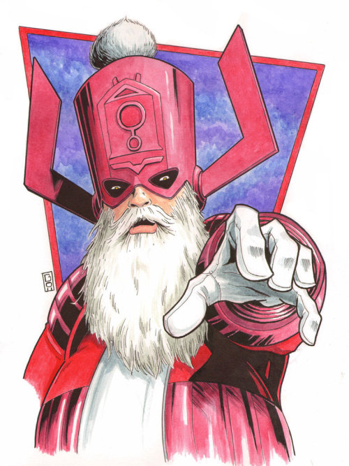 Galactuclaus, Silver Elfer, and Cosmic Reindeer by Steven Bowman Artist: deviantart / website