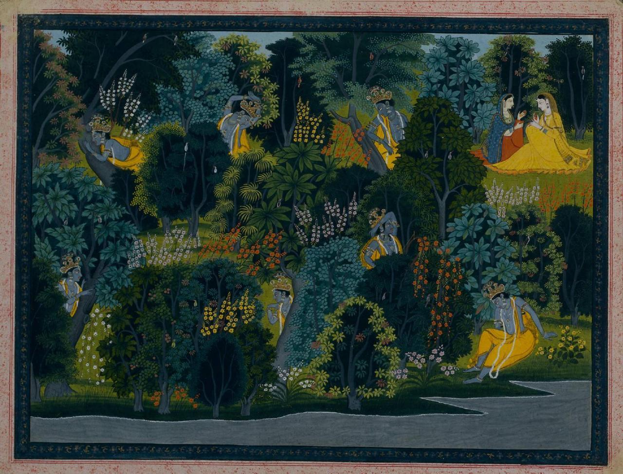 Krishna longing for Radha. India, Pahari Hills, Kangra School. From the 'Lambagraon' Gita Govinda. Via popartmachine