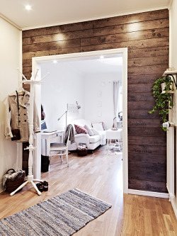 This is really pretty. myidealhome:  wooden wall from old crates (via İnterior Photos)