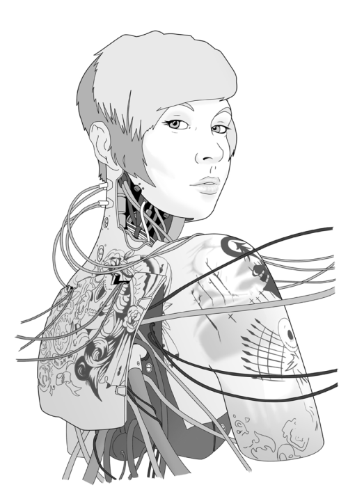 Cyberpunk portrait- Cara. I can finally show off my latest illustration! Was commissioned as a birthday present, hence the posting embargo. It's also the first complete one I've posted with grey tones. One day I'll be brave enough to try colour.