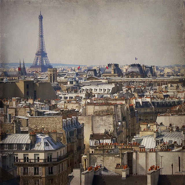 | ♕ |  Eiffel Tower & Rooftops, Paris  | by © Rita Crane