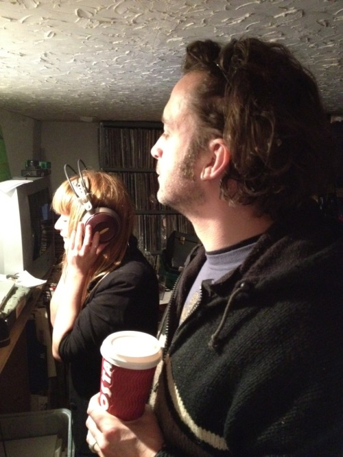 Ali and Mike of The Fauns, laying down some vocals in the studio.