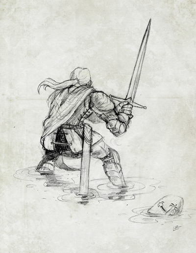 ASTERIA: Preliminary sketch for the hero knight.