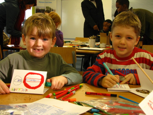 Vincent (6) & Alfred (8) making seed cards at View Tube's Sparked Family Day We saw over 50 people through our art workshop sessions with Olympic artists Riitta Ikonen and Tomas Klassnik. We'll post up more photos soon, but a massive thanks to everyone who came down, the volunteers that helped out, the stall holders at the Christmas Market and Museum of London Docklands, who bought some fascinating artefacts with them found at the park. Don't forget, you can still get involved with the exhibition by downloading an activity sheet before you visit View Tube!