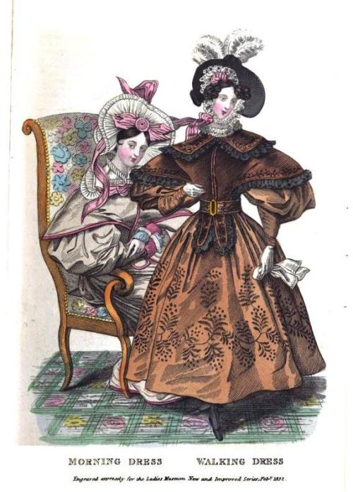 Lady's Museum, Morning and Walking Dresses, February 1832.  As much as I hate these styles, I do love the pattern on her skirt!