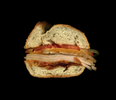 Tiny's giant sandwich shop: The Spicy Rizzak: Sliced Turkey, Crispy Bacon, Melted Cheddar, Tomato, Onion, Spicy Chipotle Mayo on a Toasted Sesame Semolina Hero. A L.E.S. Special! Scanned live in the JS55 Gallery this Saturday.
