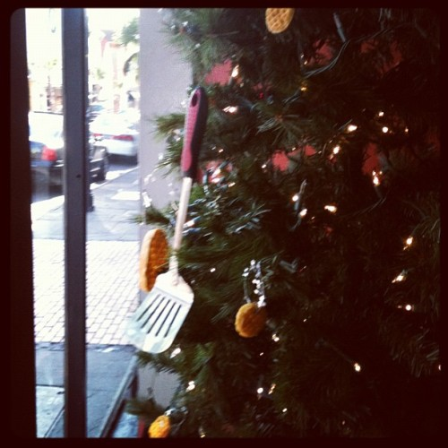 spoolsofthread:  Waffles & Spatulas on our Christmas Tree over here at PURE (Taken with instagram)