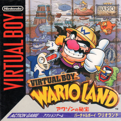 gameandgraphics:  Japanese box art for Virtual Boy Wario Land (Virtual Boy, 1995).