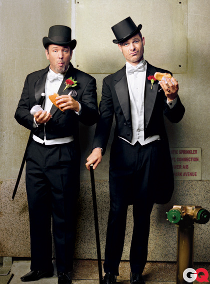 Trey Parker & Matt Stone - GQ by Martin Schoeller, December 2011 Jon Stewart on Matt & Trey: Many years ago, someone sent me a video in which four boys are asked by Jesus to help him kill Santa. The video was vulgar, hilarious, and oddly touching, and had apparently been made by two nitwits from Colorado. Ever since that day, I have looked forward to anything Matt and Trey produce with a mixture of joy, respect, and a glee that bears more than a passing resemblance to an 11-year-old girl finding out she's getting a pony. And each time I'm astounded by how vulgar, hilarious, oddly touching, and even brave their stuff is. But through it all, there were always whispers of another project… A mysterious work that would someday appear in the form of a Broadway musical… About Mormons. Classic overreach. No way they pull this thing off. But they do. And it's incredible. A doctoral dissertation in funny-as-shit satire. A hysterical, full-throated defense of faith that somehow also manages to make perfect sense of a lyric involving eye-fucking God. When you witness a work of such quality—and this is coming from someone who traffics in their field—there is only one thing to say, and I cannot say it emphatically enough: Fuck those guys.