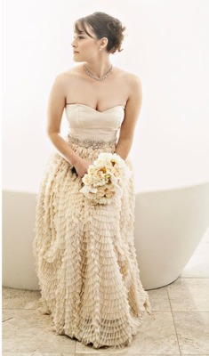 Exquisite texture on this wedding dress..