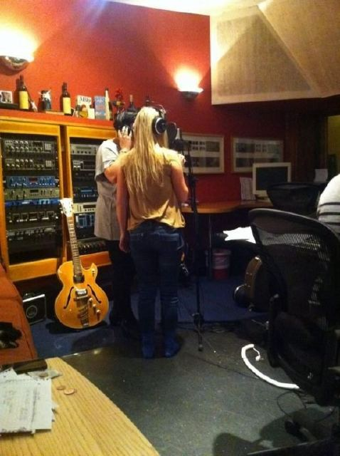Paolo recording backing vocals on the new record!