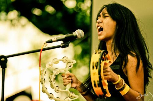 Charita Utamy of The Trees And The Wild, going all Xena: Warrior Princess at UpToTheSky Festival  Photo by Dimas Wisnuwardono