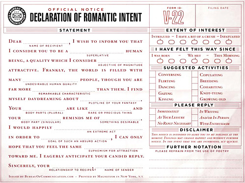 thatkindofwoman:nevver:   Declaration of Romantic Intent  I need this.   Seconded.