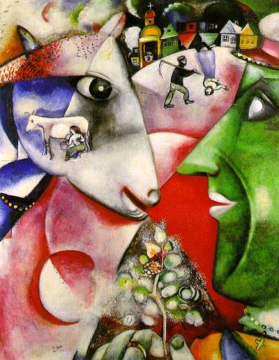 I and the VillageMarc Chagall1911The Museum of Modern Art, New York City, New York, USA Painted the year after Chagall came to Paris, I and the Village evokes his memories of his native Hasidic community outside Vitebsk. In the village, peasants and animals lived side by side, in a mutual dependence here signified by the line from peasant to cow, connecting their eyes. The peasant's flowering sprig, symbolically a tree of life, is the reward of their partnership. For Hasids, animals were also humanity's link to the universe, and the painting's large circular forms suggest the orbiting sun, moon (in eclipse at the lower left), and earth. (From the MoMA website.)