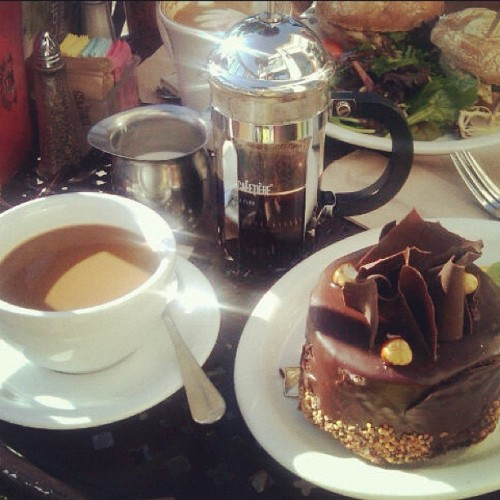 Indulging: French pressed coffee with hazelnut cake :) (Taken with Instagram at Urth Caffe)
