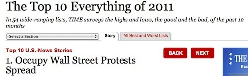 think-progress:  TIME picks Occupy Wall Street as the top U.S. news story of the year. And the OWS story isn't even over yet.
