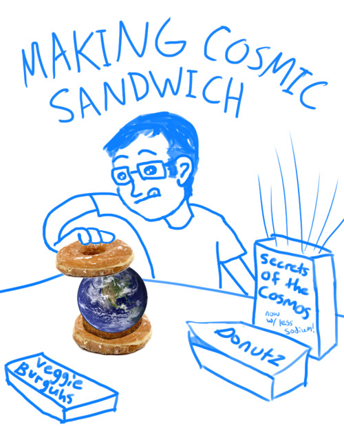 "Assignment from Danny: Draw a comic based on the phrase ""making cosmic sandwich."""