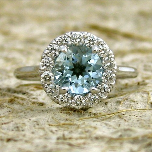 14K White Gold band with Diamonds & Turquoise Gem…to die for!