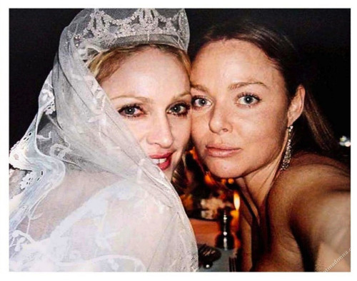 Madonna and Stella McCartney on her wedding day to Guy.