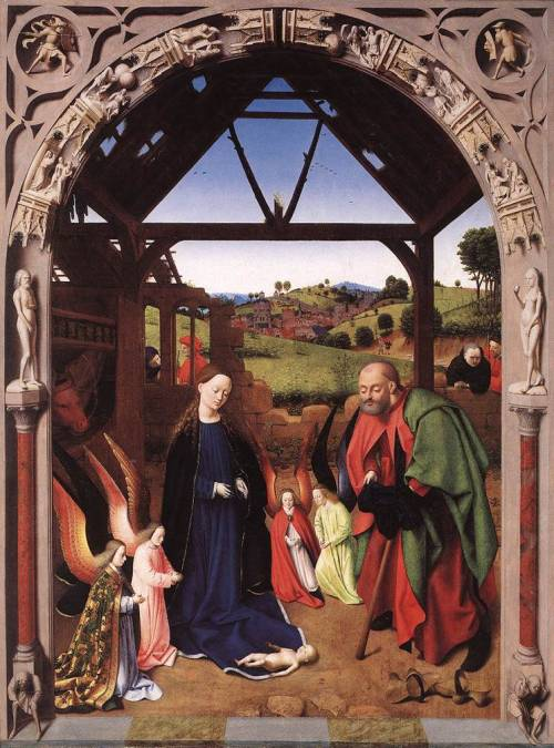 uglyrenaissancebabies:  Petrus Christus, The Nativity Oops! Dropped him!