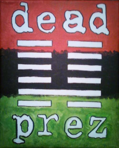Dead Prez Paintings by artist Sam Miller  These paintings were inspired by revolutionary hip-hop group Dead Prez.  Their music is inspiring and ferocious as well as poetic, speaking to  the human condition of struggle and desire for a better life. These  paintings feature their logo and the RBG Ant. A symbol of the  proletariat struggle…