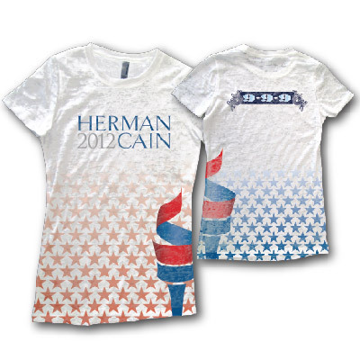 Hey, remember that time the Herman Cain for President store described these shirts like so:  Support the campaign in this designer burnout t-shirt.  Herman Cain: Designer Burnout!