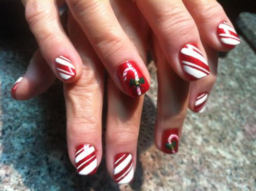 acrylics, with freehand holiday designs -by Kim N. of Chez Bella