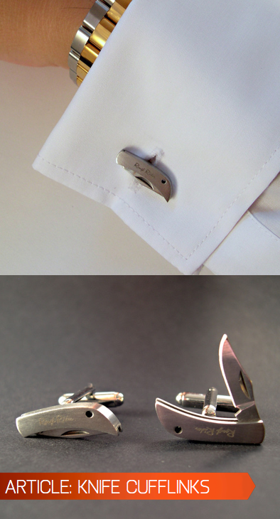 whereisthecoool:  Knife Cufflinks Concealed weapons are a bit too extreme for us, but we like the idea of having something sharp on hand that adds to a man's elegance. These stainless steel cufflinks are sleek enough to be put on and completely forgotten about, and sharp enough to come in handy in a pinch. Buy here.  I happen to have a thing for concealed weapons (just realized that). Love these. Must buy.