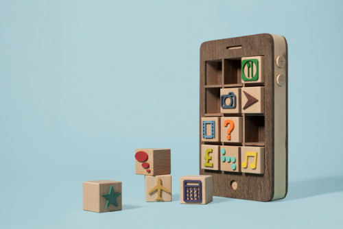 laughingsquid:  Wooden Smartphone With Removable Toy Block Apps  All damn creative cave man stage lmfao