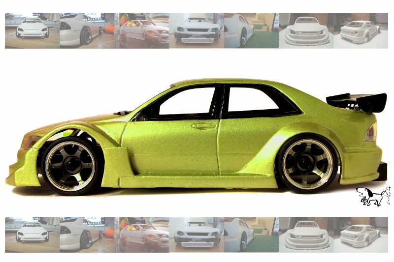Portfolio: HKS Altezza(Created with styrene, putty, paint, 3rd party model accessories)To demonstrate my interest in automotive design, this piece is a construct of a basic, common street car (Toyota Altezza, or in the North American market, the Lexus IS200), fused with personal taste, to replicate a piece of machinery that resembles modern day professional racing vehicles. Total duration of this piece was roughly four months of sanding, cutting, and sculpting. Then another two weeks to paint in my preferred color choice of Champagne Gold. The reason I chose the color was to show a performance-styled car under the 'skin' of a typical daily driver. It is extreme, yet blends in like a normal car.