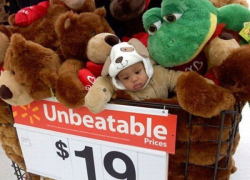 collegehumor:   Baby Mixed In With Stuffed Animals  That would go for $25 anywhere else. Guaranteed.  So doing this to my kids xD