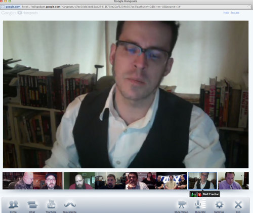 "I got a chance to join a Google Hangout with the team from Marvel Comics  and ask a  question about the upcoming Avengers v. X-Men event. Those faces (minus  mine) are the stewards of the Marvel Universe. ""The penitent man kneels  before God(s)."""