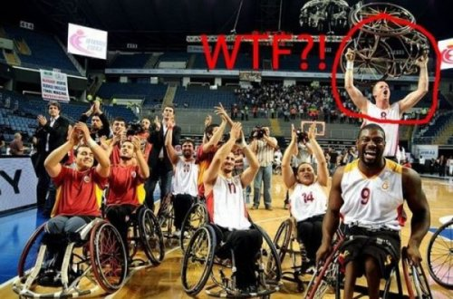 Wheelchair Basketball WTF  It's a miracle! How else would he have scored the game-winning dunk?