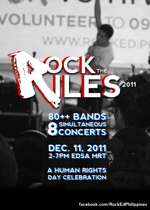 pinoytumblr:  Choose a station, watch a gig, take a stand, and rock and roll! Here's the line-up of Rock the Riles, Rock Ed Philippines' 7th annual celebration of Int'l Human Rights Day! Note: More performers to come! Add Rock Ed on Facebook for updates! Shaw Station Paolo Santos, Silent Sanctuary, Peryodiko, Duster, Kala, Gracenote, Kai Honasan, and Playphonics — Rocking for Education Cubao Station Noel Cabangon, Paramita, Hijo, Hilera, Turbo Goth, Camerawalls, FMD, Top Junk, Chongkeys, Ganhava, Alex in Wonderland, Miko Pepito, Faintlights, Allecia, Nityalila, OG Sacred, Midsummer, LTNS, and Toyo. Presented by Dakila — Rocking for Global Trade and Development Ayala Station Radioactive Sago Project, UpDharmaDownm Encounters With A Yeti, Musical O, Sleepwalk Circus, Hidden Nikki, The Charmes, Not Another Boy Band, Dr.Strangeluv, and Acasha. Presented by Terno Recordings — Rocking for the Environment Taft Station Tanya Markova, Giniling Festival, Stonefree, Soapdish, Above Zero, Wika, Heavy Heavies, Hatankaru, AJKA, Soundvent, Eevee, Letter Day Story, Kaligta, Kilos, Circa, Not So Fast, Philia, and Ciudad Tribu — Rocking versus Hunger Boni Station Flippin' Soul Stompers, Collie Herb, Good Leaf, Tarsius, The Go Signals, Fingertrap, Jeepney Joyride, The Strangeness, Nanay Mo, Tirso Cruise Three, FilterKeen, Kevin's Express, and Big Band Groove — Rocking for Gender Equality Quezon Avenue Station CinemAlexis Film Showing — Rocking for Maternal Health Buendia Station Intolerant, Reklamo, Bad Burn, Odat, Trapeze, Penguin, Pull It Surprise, Sirens, Save Me Hollywood, Jejaview, Htachbanko, Around the Metro, Lady Ransom, Jensen Gomez, Archievals, Harlequin Carnival, and Sleep — Rocking versus HIV/AIDS, Malaria, and Preventable Diseases North Avenue Station Mayonnaise, Tonight We Sleep, Hansom, Subscapular, Sirens, Chris Cantanda, Shoulder State, Lights in Transit, Arcadia, PileDriver, Wilderness, and Twin Lobster. Presented by Mary Moon Productions — Rocking for Children's Health