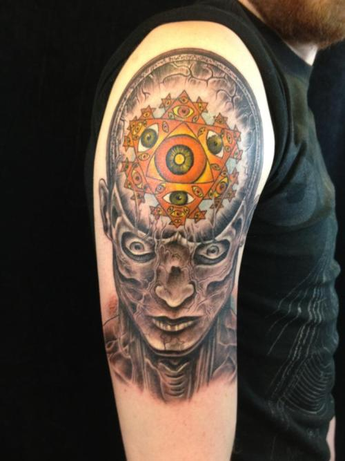 Alex Grey: The Seer. Done By: Trevor Collins At Ironage Studios, In St.Louis Everything I have Explored With My Inner Self Led To This Tattoo, I Can Now See The Fractal Energy That Surrounds Existence. This Painting Done By Alex Grey Is The Only Way I Can Express This Feeling.