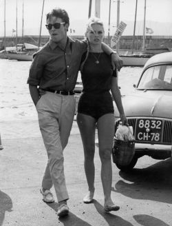 heres-looking-at-you-kid:  Brigitte Bardot and Alain Delon.