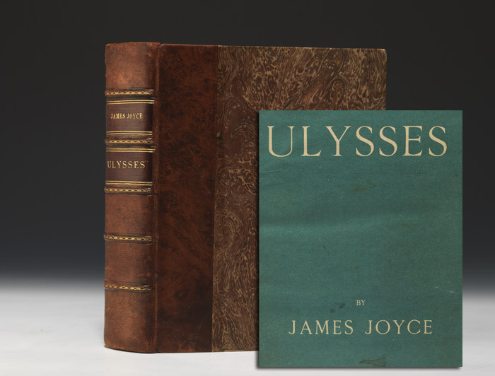book-aesthete:  Ulysses James Joyce. Paris: Shakespeare and Company, 1922. Quarto, contemporary half brown marbled sheep, raised bands, dark brown morocco spine labels, marbled boards and endpapers, uncut, original blue paper wrappers tipped in. First edition of the novel that changed the path of modern literature, number 540 of only 750 numbered copies on handmade paper, with the now-iconic original paper wrappers tipped in at front and rear. — People do not know how dangerous lovesongs can be, the auric egg of Russell warned occultly. The movements which work revolutions in the world are born out of the dreams and visions in a peasant's heart on the hillside. For them the earth is not an exploitable ground but the living mother. The rarefied air of the academy and the arena produce the sixshilling novel, the musichall song, France produces the finest flower of corruption in Mallarmé but the desirable life is revealed only to the poor of heart, the life of Homer's Ph&Aelig;acians.  —— episode 9, Scylla and Charybdis
