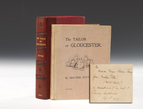 "The Tailor of Gloucester Beatrix Potter.. London: Privately printed for the author, December, 1902.   12mo, original pictorial pink boards. Housed in a custom chemise and half morocco slipcase.   True first edition, one of only 500 privately printed copies, of Potter's second book, which she called ""my own favorite amongst my little books,"" with frontispiece and 15 illustrations in color, three of which do not appear in the first trade edition of October, 1903.  A lovely and desirable inscribed presentation-association copy of one of the rarest Beatrix Potter titles, in near-fine condition.  ""But it is in the old story that all the beasts can talk, in the night between Christmas Eve and Christmas Day in the morning (though there are very few folk that can hear them, or know what it is that they say)."""